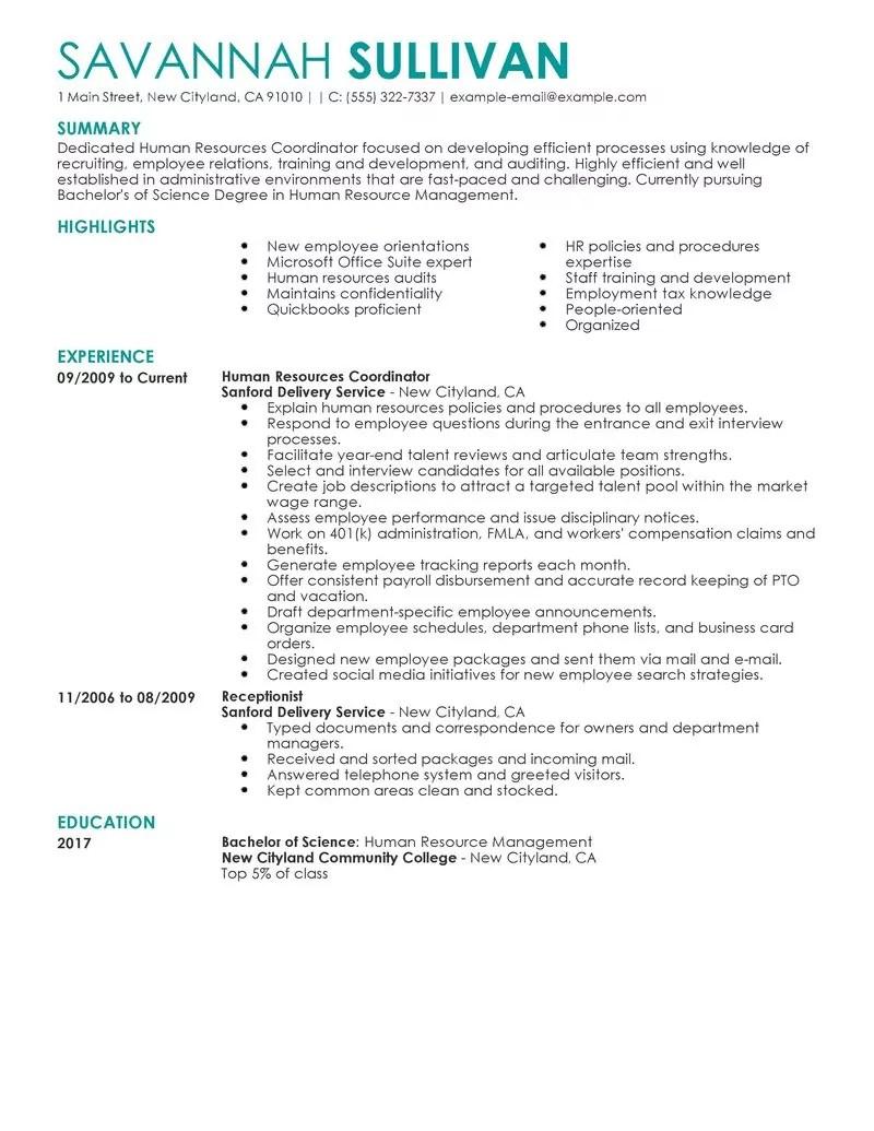 hr resume human hr resume samples hr coordinator human resources human