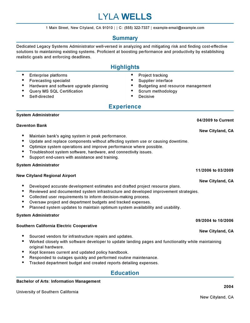 it systems administrator resume windows system administrator