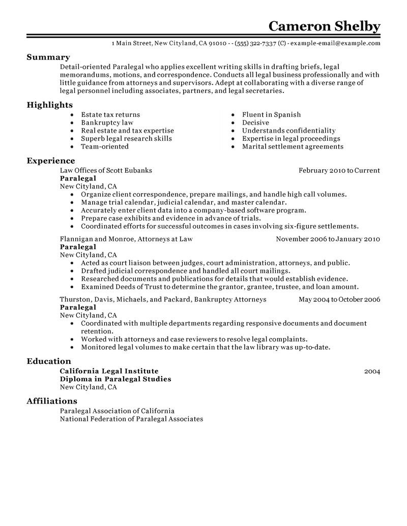 Paralegal Resumes Examples paralegal resume sample my perfect resume