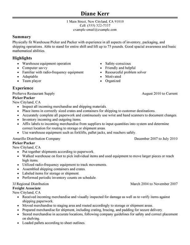 unforgettable picker and packer examples to stand out warehouse specialist - Warehouse Specialist Resume