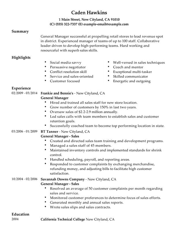 Resume Examples Skills Sales. General Manager My Perfect Resume