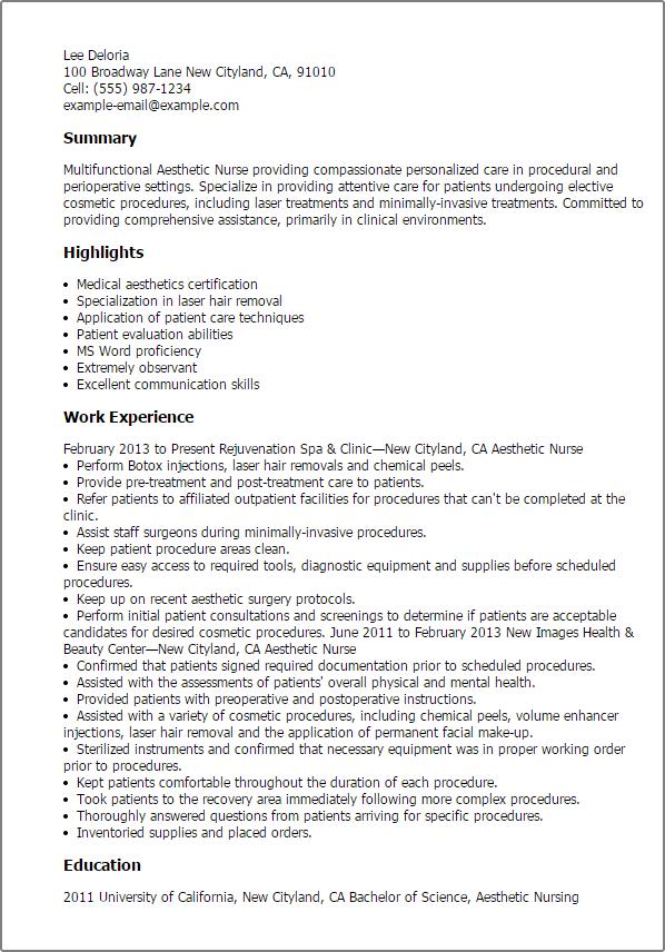 nurse resume surgical nurse resume resume templates aesthetic nurse