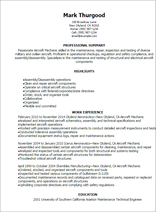 professional aircraft mechanic resume templates to showcase your