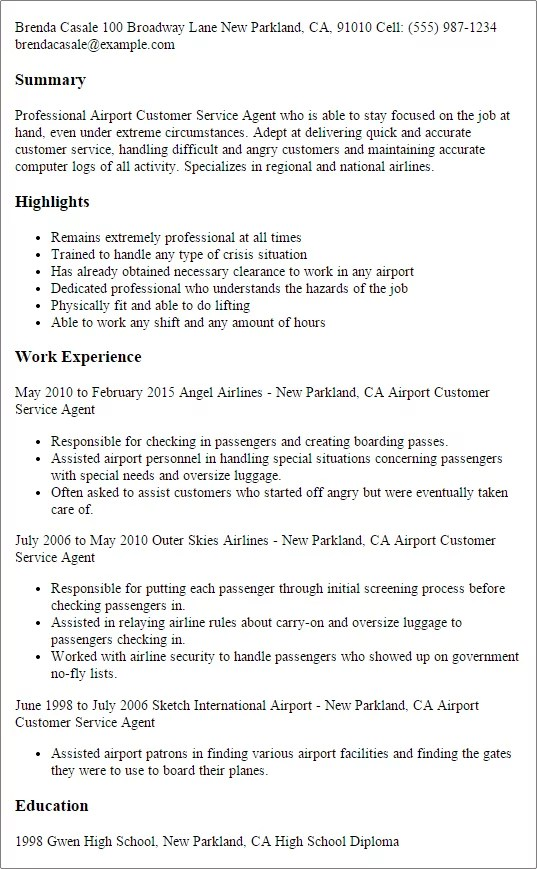Resume title suggestions customer service