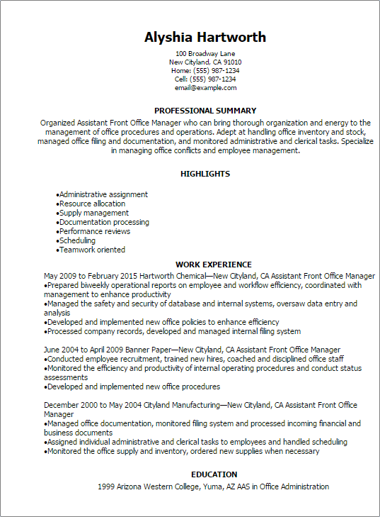 professional assistant front office manager resume templates to