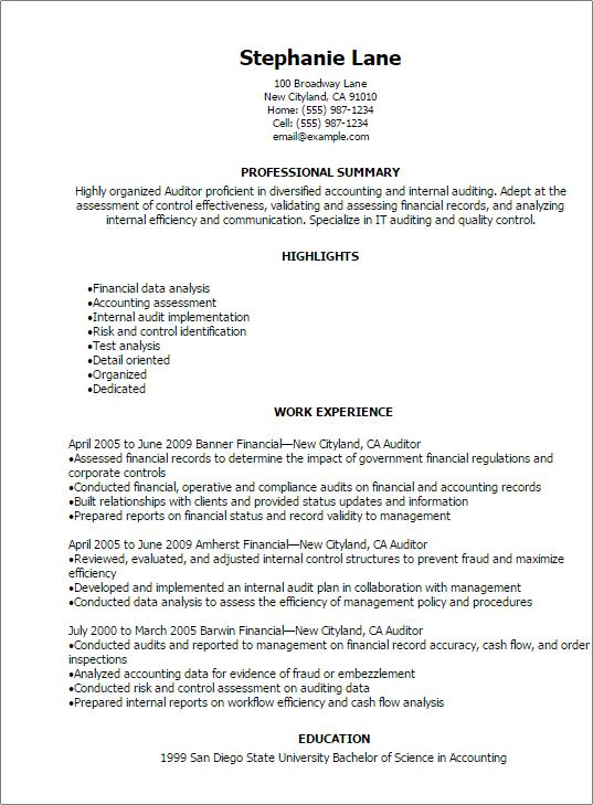 Audit staff resume sample