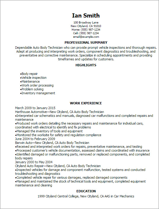 professional auto body technician resume templates to showcase