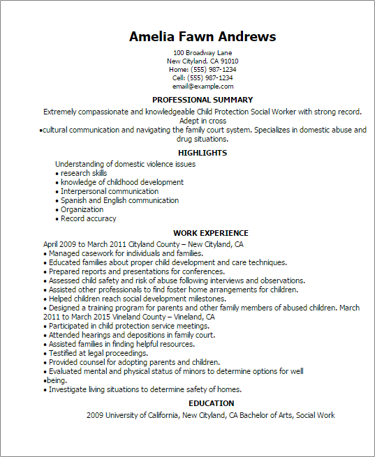 Social Service Resume. Community And Samples. Social Work Resume