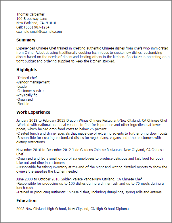 chef resume sample busser resume templates chinese chef chinese chef