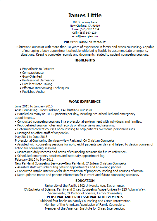 sample resume for mental health counselor