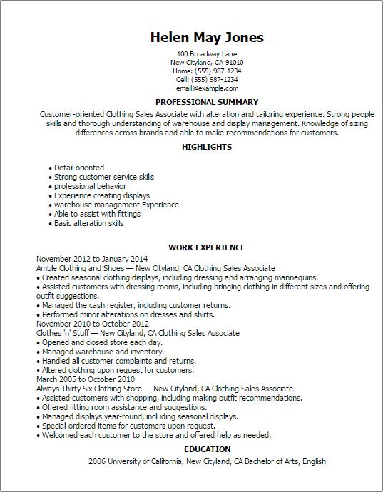Clothing Sales Associate Resume Skills. Retail Sale Associate Job