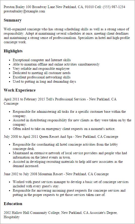 Hospitality Resume Template. Professional Hospitality Resume