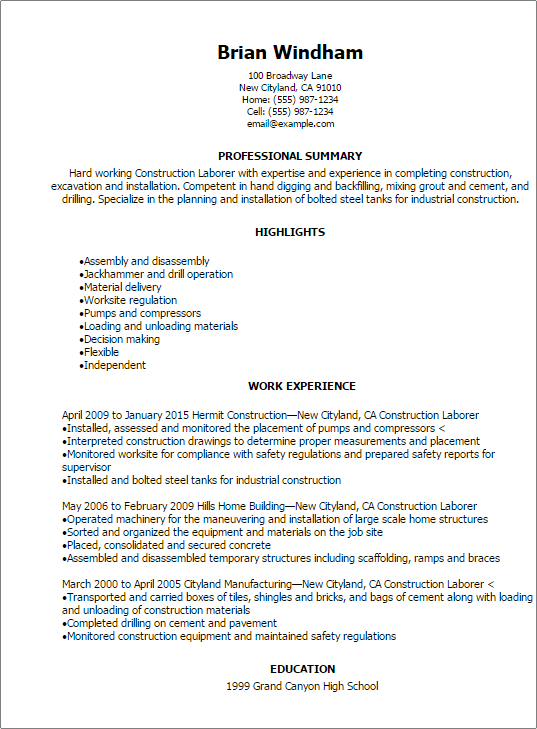 professional construction laborer resume templates to showcase