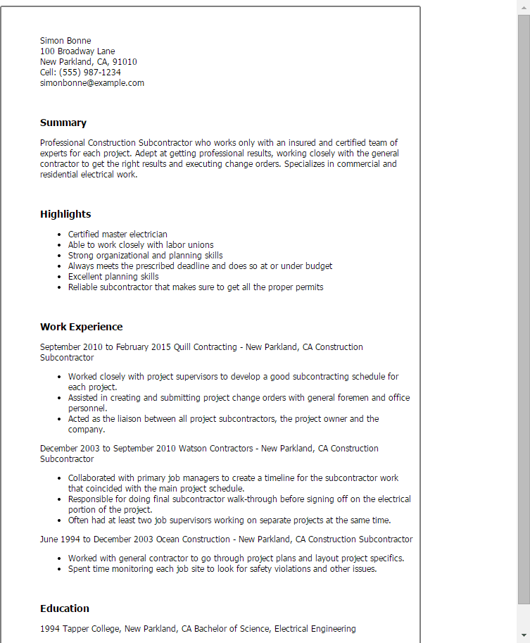 Construction Job Resume Format. Construction Job Resume Resume And