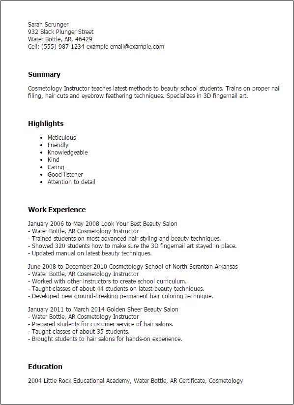 cosmetology resume samples salon manager resume sample sample