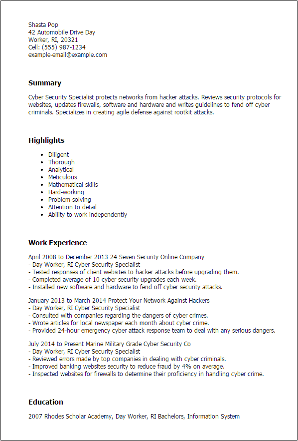 Cyber security resume examples