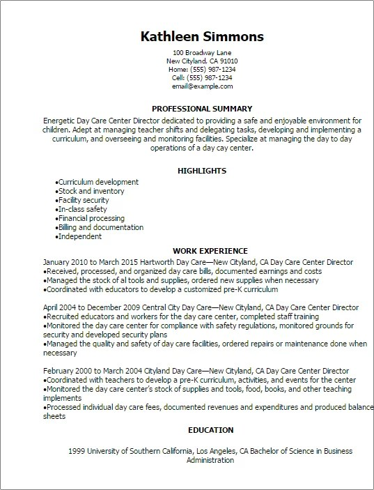 Child Care Director Job Description Resume. resume childcare ...