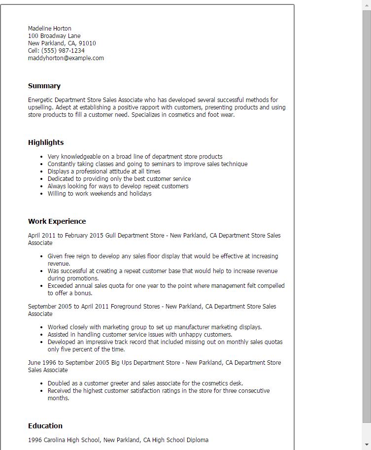 Sales Associate Resumes. Retail Sales Resume Sales Associate