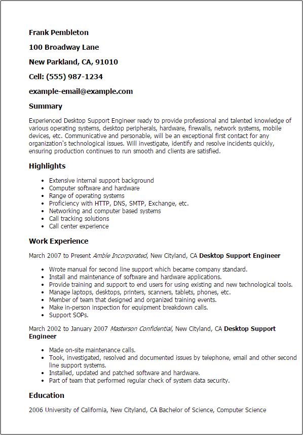desktop support resume samples template