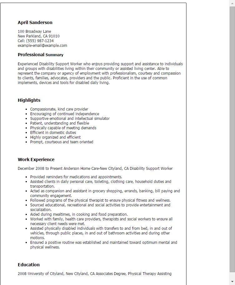 Psw Job Sample Resume. cover letter for disability support worker ...