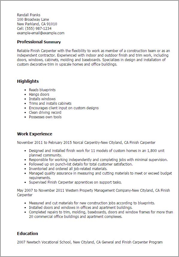 resume sample tooling engineer resume sample business carpenter resume