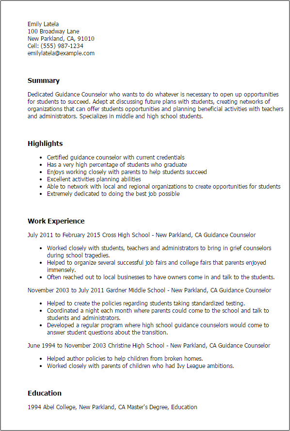 Resume After School Counselor. college essays college application ...
