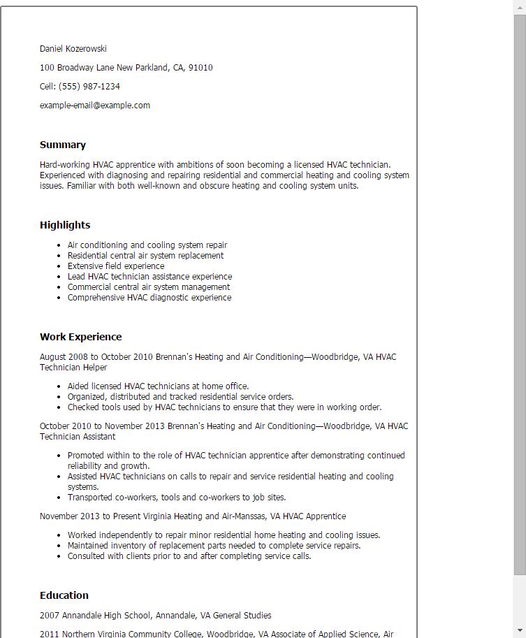 professional hvac apprentice templates to showcase your talent