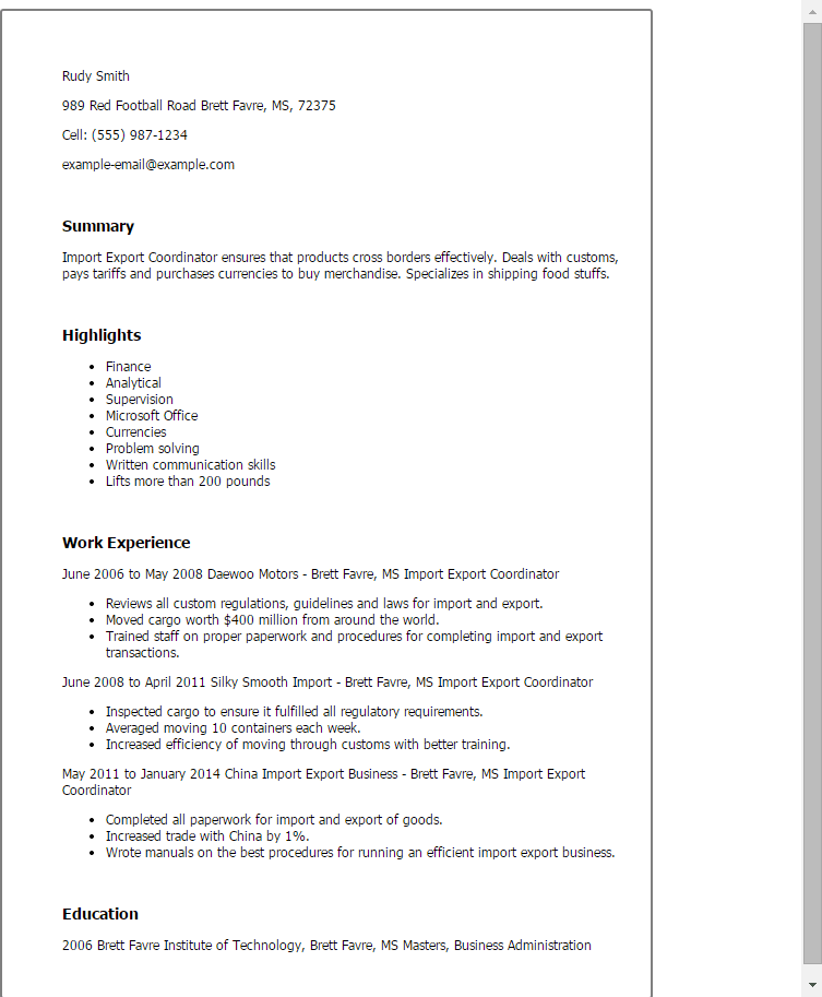 Import Export Resume Sample. format samples typical job ...
