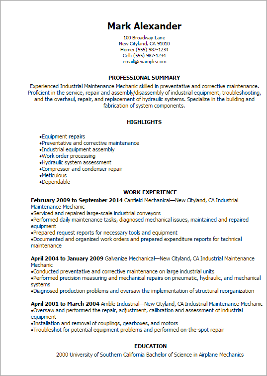 professional industrial maintenance mechanic resume templates to