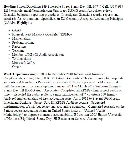 Sample Resume Auditor Big Four. Auditor Sample Resume My Sample