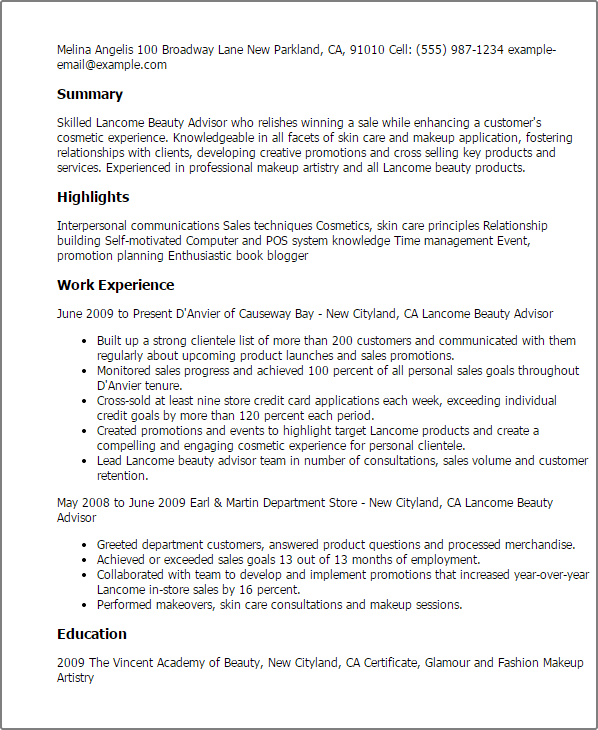 cosmetic sales resume samples template