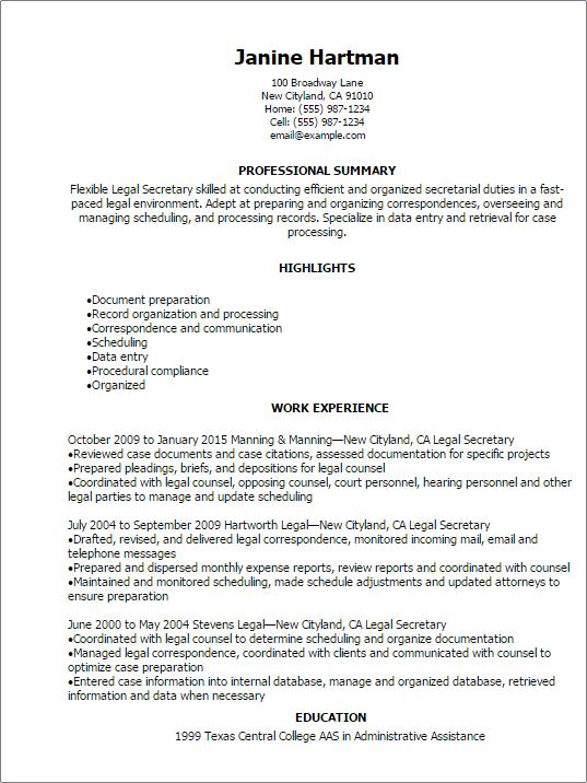 professional legal secretary resume templates to showcase your