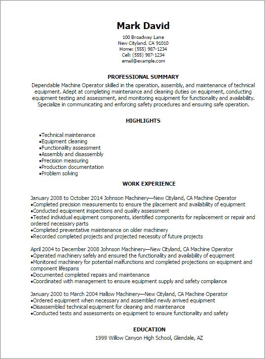 cnc operator resume cnc operator resume telephone operator resume ...