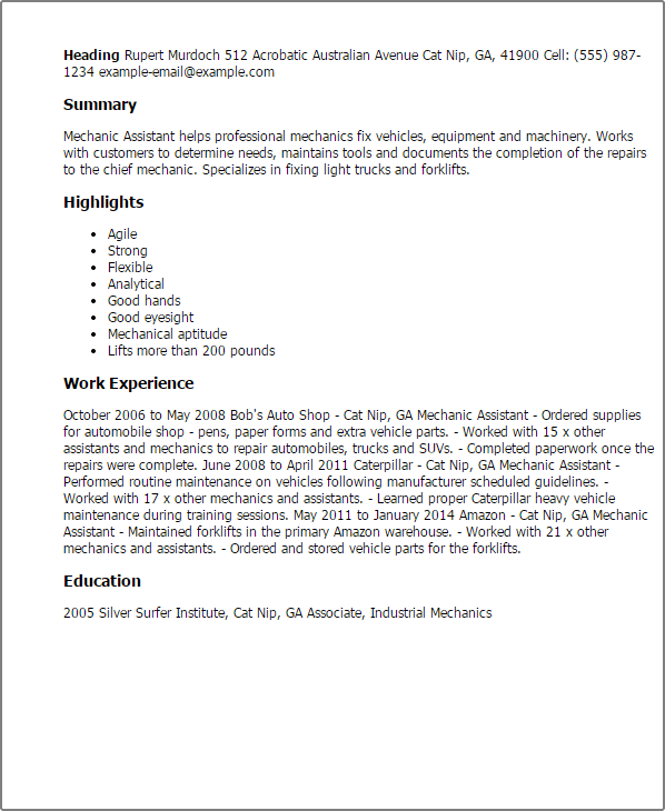 mechanic resume samples tarquin only the crumbliest flakiest resume