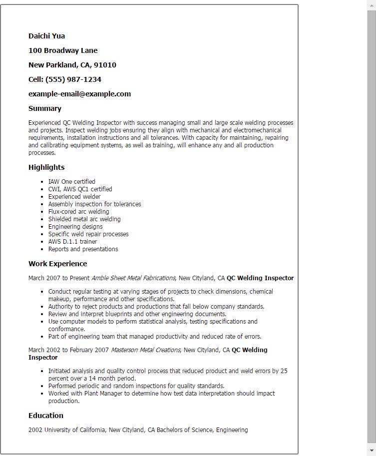 welding resume examples welder resume welder resume objective