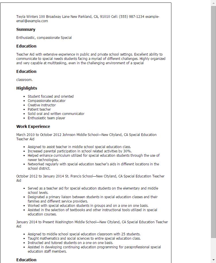 Resume Teacher Assistant Sample Special Education