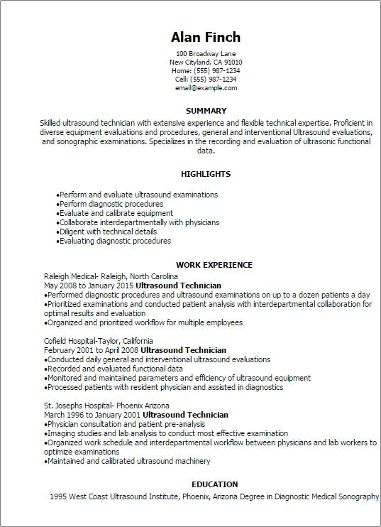 professional ultrasound technician resume templates to showcase