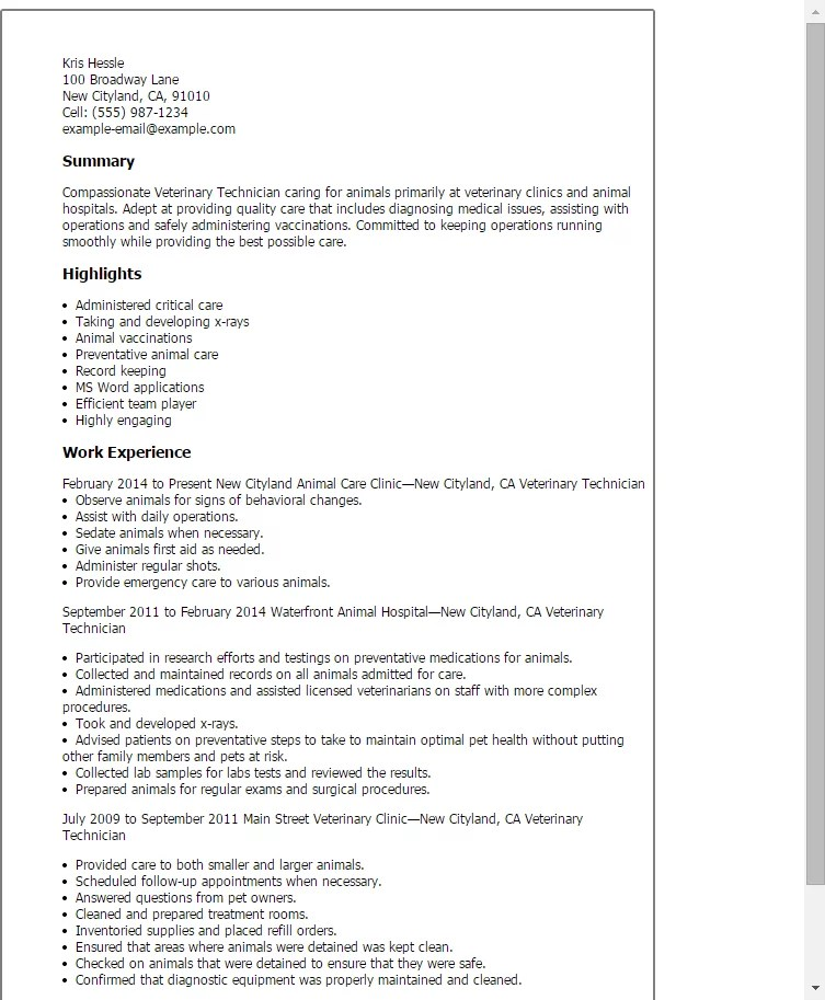 Ultrasound Technician Resumes: Veterinary Student Resume Examples