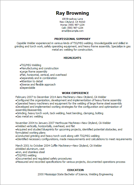 welder resume professional welder resume templates to showcase