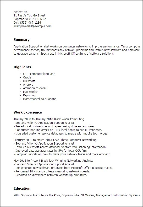 recipe for the perfect application support analyst resume