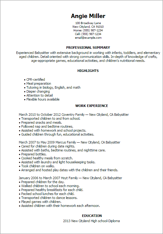 Babysitting Resumes. part time nanny resume sample my perfect ...