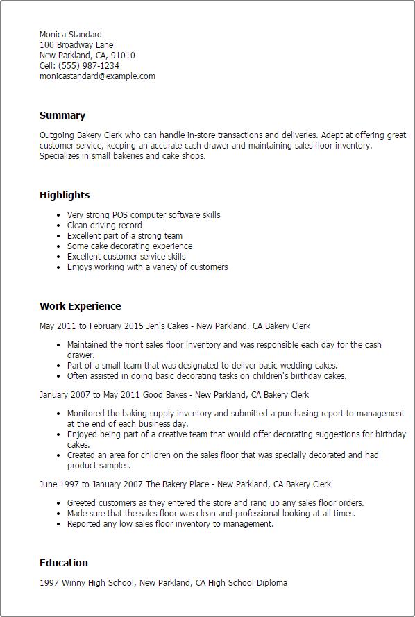 Baker Resume Sample - Resume Sample