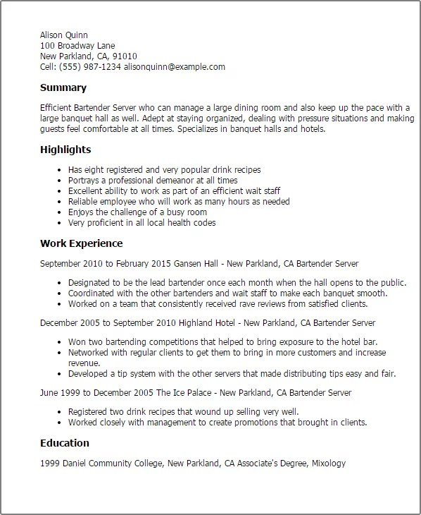 Resume For Servers. Sample Template. Unforgettable Fast Food