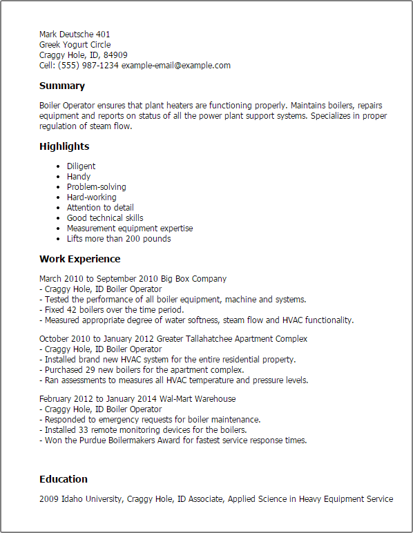 Sample Cover Letter Chemical Operator
