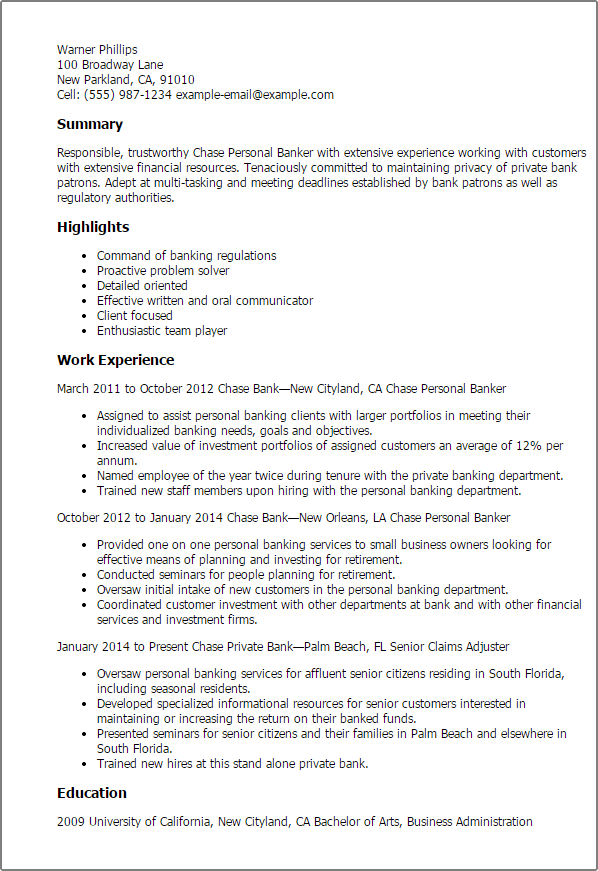 Business Banking Resume Objective. Resume Examples Vip Resume Gray