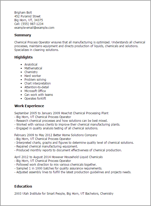 recipe for the perfect chemical process operator resume chemical