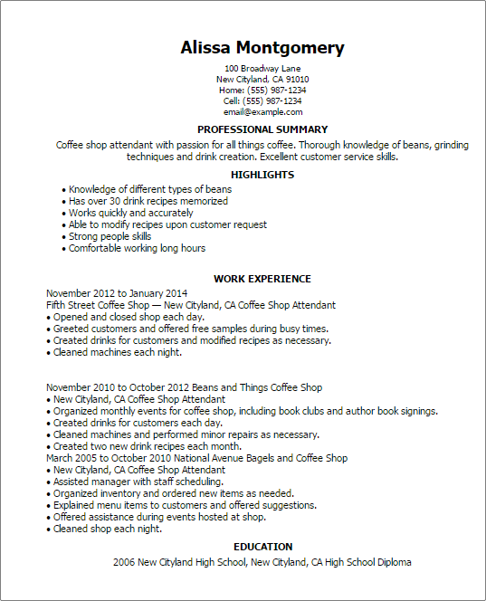 Sample resume for coffee shop supervisor