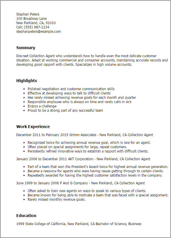 Recipe For The Perfect Collection Agent Resume