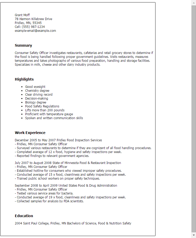 fire safety supervisor resume