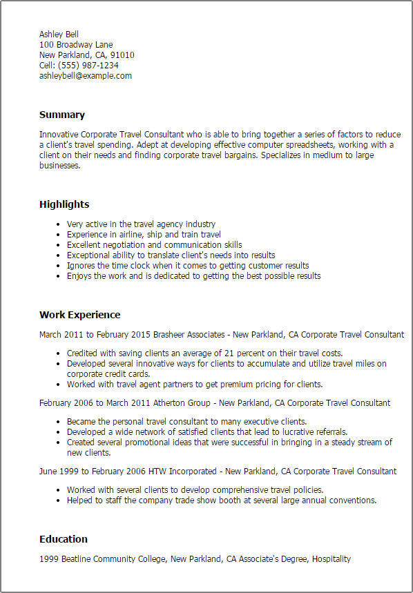 professional corporate travel consultant templates to showcase travel agent resume example - Travel Agent Resume